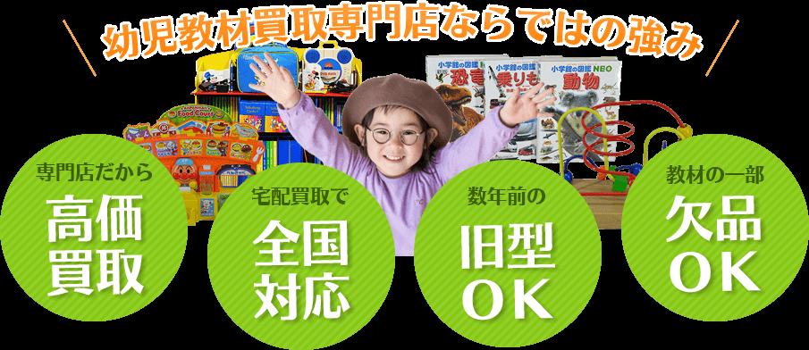 幼児教材買取専門店ならではの強み。専門店だから高価買取、宅配買取で全国対応、数年前の旧型OK、教材の一部欠品OK。